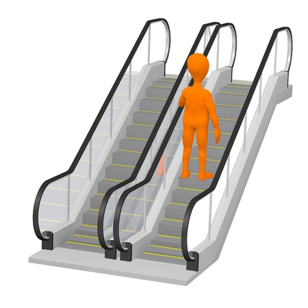 stockie: 3d render of cartoon character on escalator