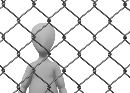 3d render of cartoon character with chain fence Stock Photo - 13735867