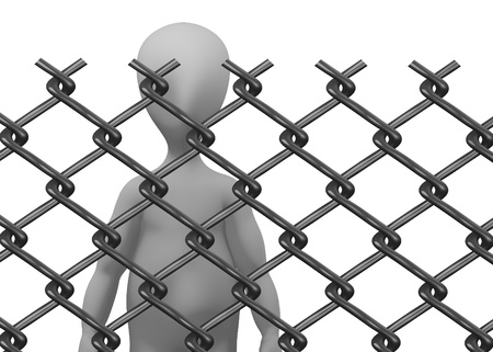 3d render of cartoon character with chain fence Stock Photo - 13735857