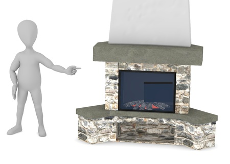 cartoon fireplace: 3d render of cartoon character with fireplace