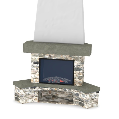 fire place: 3d render of  fire place Stock Photo