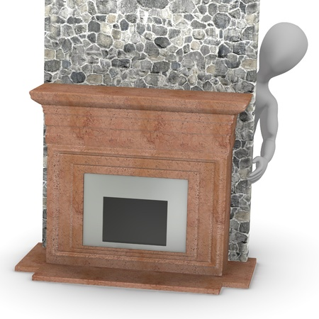 3d render of cartoon character with fireplace Stock Photo - 13723777