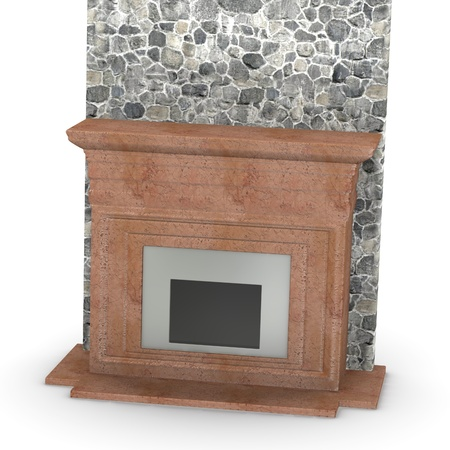 3d render of  fire place photo