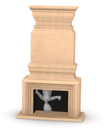 3d render of cartoon character with fireplace Stock Photo - 13736085