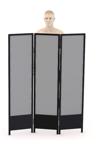 folding screens: 3d render of artifical character with folding screen