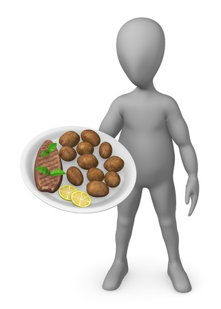 stockie: 3d render of cartoon character with food