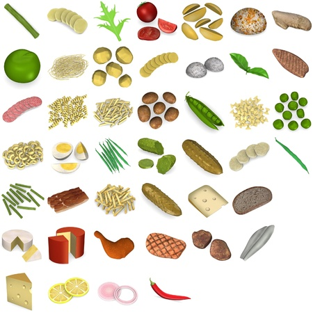 rice and beans: 3d render of large food collection