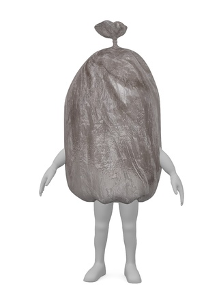 3d render of cartoon character with garbage bag photo