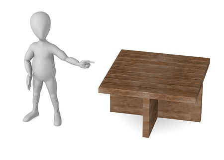 stockie: 3d render of cartoon character with table