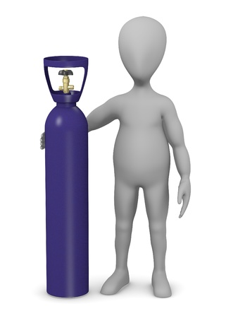 oxygene: 3d render of cartoon character with gas container