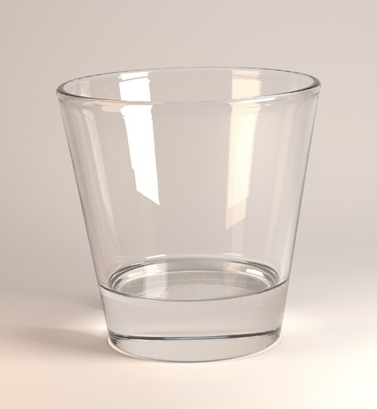 3d render of empty glass photo