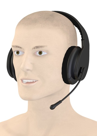 artifical: 3d render of artifical character with headphones