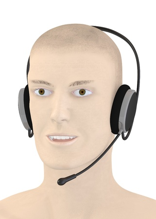 3d render of artifical character with headphones Stock Photo - 13722384