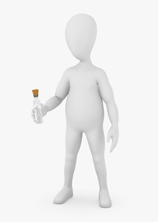 stockie: 3d render of cartoon character with homeopathics flask Stock Photo