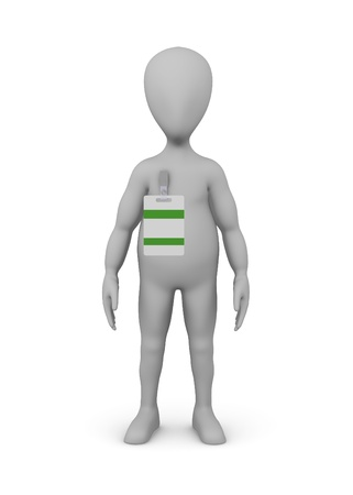 assistent: 3d render of cartoon character with ID badge