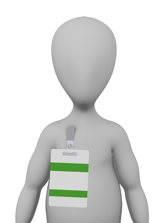 3d render of cartoon character with ID badge photo