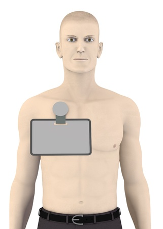 assistent: 3d render of artifical character with ID badge Stock Photo
