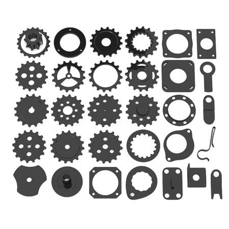 mech: 3d render of industrial parts