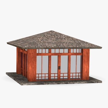 3d render of japanese house photo