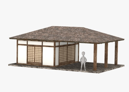 stockie: 3d render of cartoon character with japanese house Stock Photo