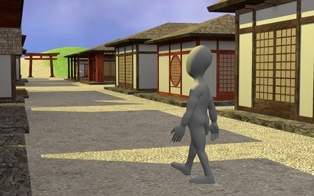 3d render of cartoon character in asian town photo