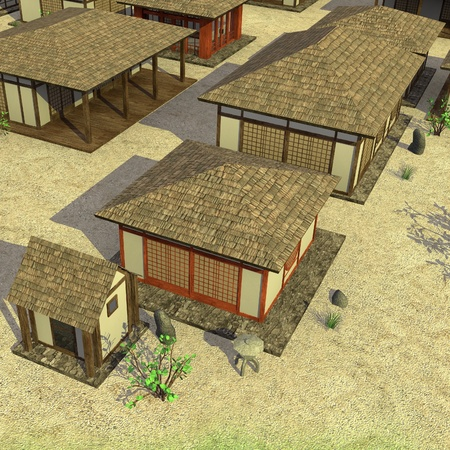 3d render of japanese village Stock Photo - 13722157