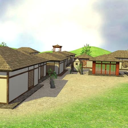 3d render of japanese village photo