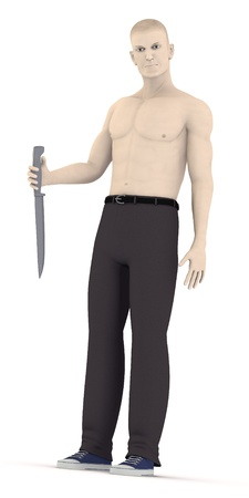 artifical: 3d render of artifical character with knife