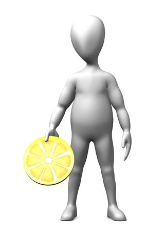 3d render of cartoon character with lemon slice photo