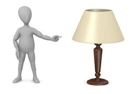 stockie: 3d render of cartoon character with lamp