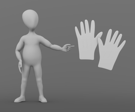3d render of cartoon character with gloves Stock Photo - 13737959