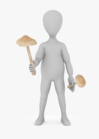 3d render of cartoon character with mushroom photo