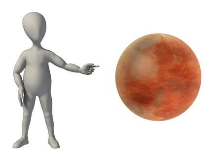 3d render of cartoon character with mars planet photo