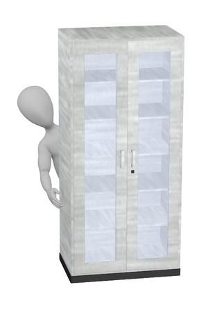 3d render of cartoon character with cabinet photo