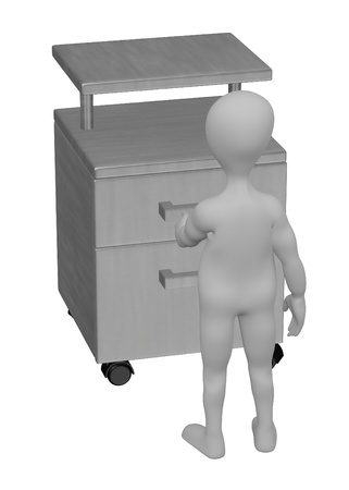 3d render of cartoon character with medical table photo