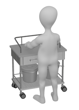 3d render of cartoon character with medical table Stock Photo - 13741098