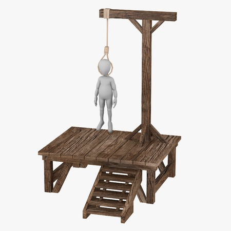 3d render of cartoon character with gallows Stock Photo