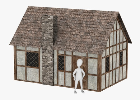3d render of cartoon character with medieval building Stock Photo - 13746117