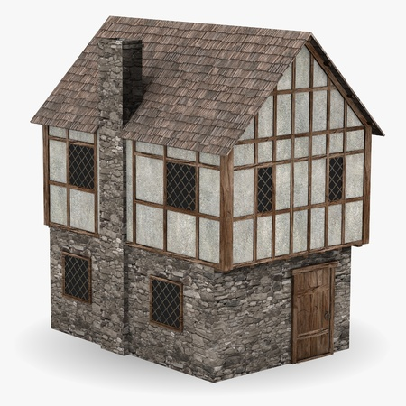 3d render of medieval building photo