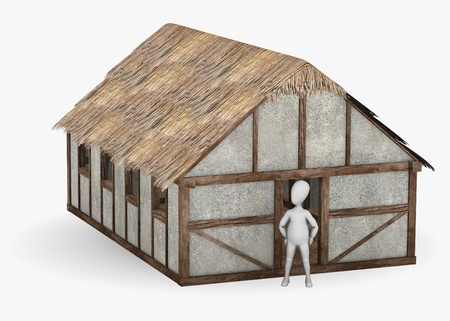 stockie: 3d render of cartoon character with medieval building