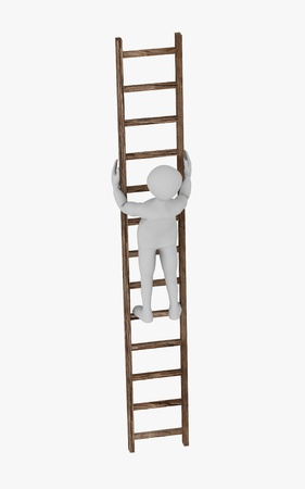 3d render of cartoon character on ladder photo