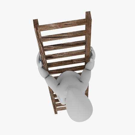 stockie: 3d render of cartoon character on ladder Stock Photo