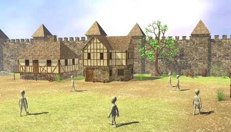 3d render of cartoon characters in medieval village Stock Photo - 13746151