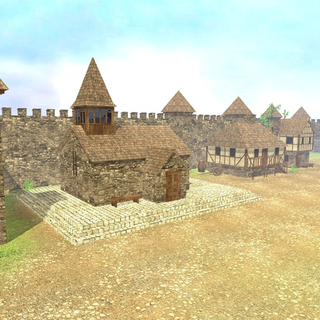 3d render of medieval town photo