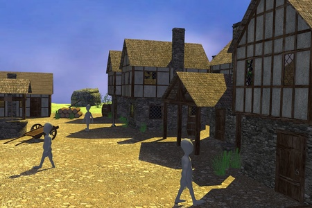 3d render of cartoon characters in medieval village photo