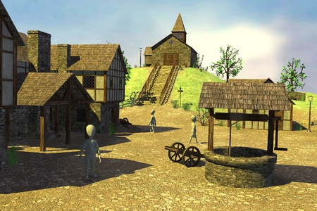 3d render of cartoon characters in medieval village Stock Photo - 13746086