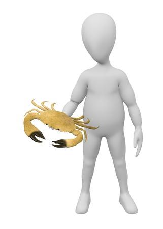 stockie: 3d render of cartoon character with menippe mercenaria