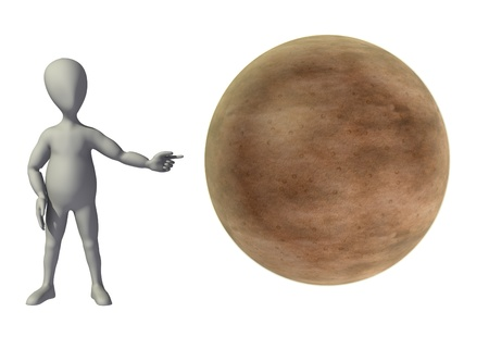 stockie: 3d render of cartoon character with merury planet