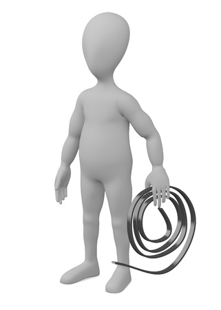 stockie: 3d render of cartoon character with wire cable Stock Photo