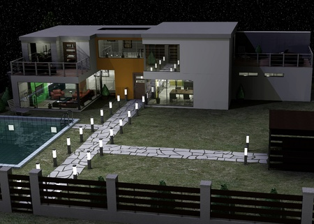 3d render of modern house architecture photo